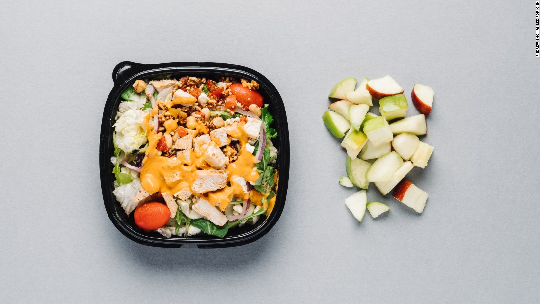 Wendy's power Mediterranean chicken salad recently came onto the chain's menu. It's perfectly suited for waistline-watchers, especially at half-size, with 240 calories. The apple slices pair well with either option and offer 2 more grams of fiber for only 35 calories.