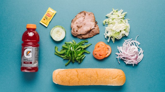 The roast beef sandwich on nine-grain wheat bread offers loads of protein and carbs to fuel and repair muscles. Grab a Gatorade for a post-workout beverage to replenish electrolytes lost in sweat.