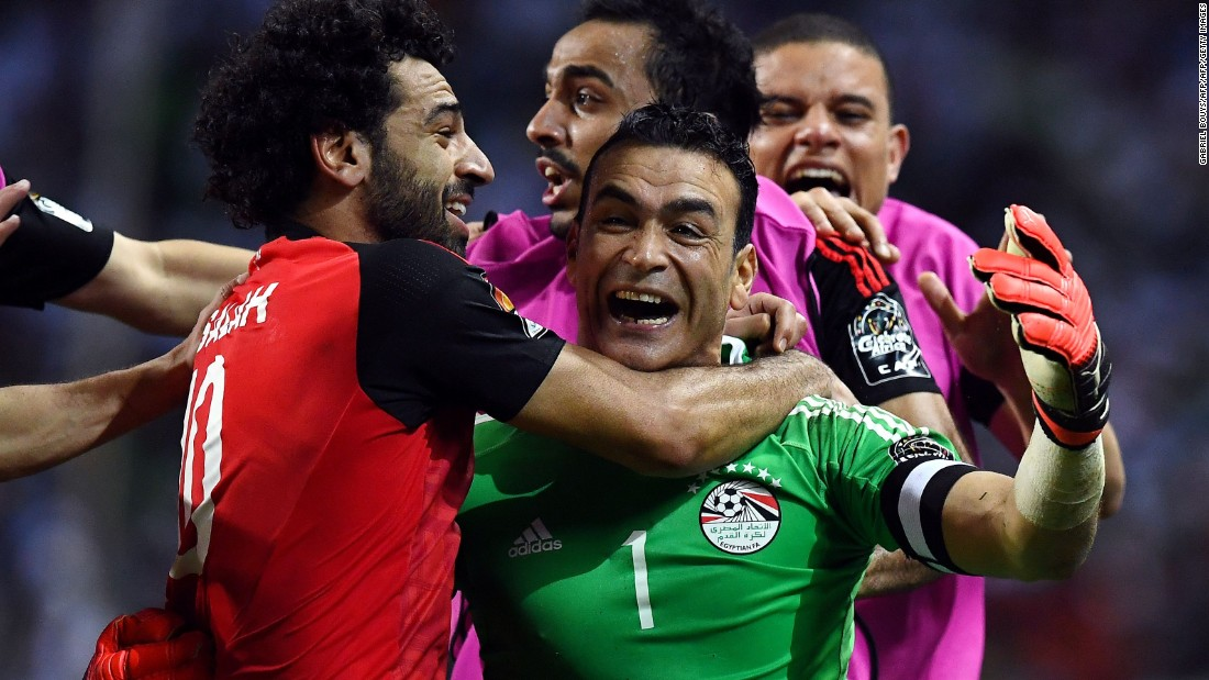 Egypt's 44-year-old goalkeeper Essam El-Hadary was his country's hero Wednesday, saving two Burkina Faso penalties to send the Pharaohs through to the 2017 Africa Cup of Nations final.