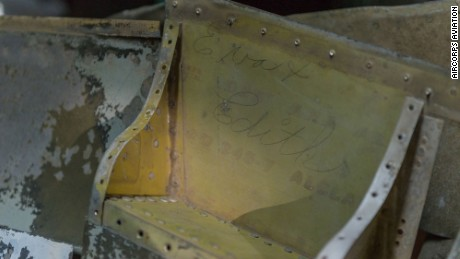 "The signature ""Eva & Edith"" was found inside the wing of P-47D Thunderbolt at Evansville, Indiana, aviation plant."