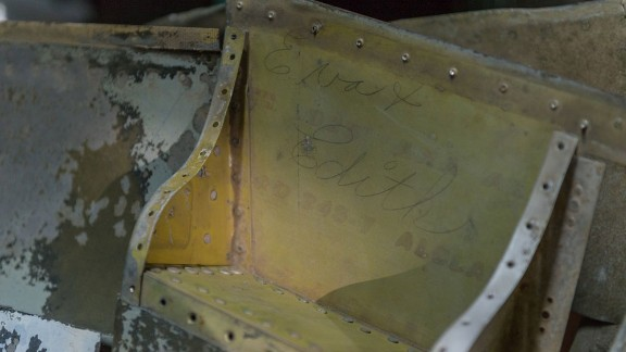 Grease pencil signature Eva & Edith found inside wing of P-47D Thunderbolt completed at Evansville, Indiana aviation plant in 1944