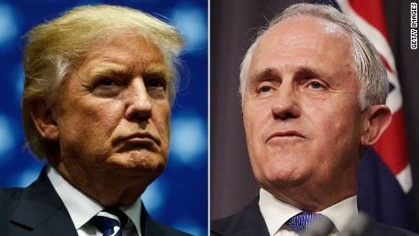 "US President Donald Trump said his call with Australia's Malcolm Turnbull (right) was ""the most  is unpleasant"" of several made with world leaders a week after his inauguration."