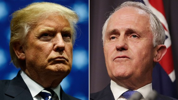 """US President Donald Trump said his call with Australia's Malcolm Turnbull (right) was """"the most  is unpleasant"""" of several made with world leaders a week after his inauguration."""