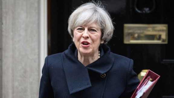 LONDON, ENGLAND - FEBRUARY 01:  British Prime Minister Theresa May leaves for the weekly PMQ session in the House of Commons, at Downing Street on February 1, 2017 in London, England. MPs are today set to vote on whether the Prime Minister should have the power to begin the Brexit process.  (Photo by Leon Neal/Getty Images)