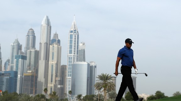 DUBAI, UNITED ARAB EMIRATES - FEBRUARY 02:  Tiger Woods of the USA walk down the 13th hole during the first round of the Omega Dubai Desert Classic on the Majlis Course at Emirates Golf Club on February 2, 2017 in Dubai, United Arab Emirates.  (Photo by Francois Nel/Getty Images)