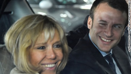 Macron's wife Brigitte -- once his high school teacher -- has been highly visible during his campaign.