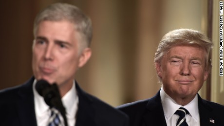 TOPSHOT - Judge Neil Gorsuch speaks, after US President Donald Trump nominated him for the Supreme Court, at the White House in Washington, DC, on January 31, 2017.