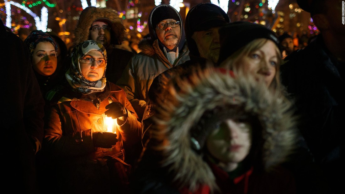 "People attend a vigil for victims of a <a href=""http://www.cnn.com/2017/01/29/americas/quebec-mosque-shooting/"" target=""_blank"">shooting at a Quebec City mosque</a> in Canada on Monday, January 30. The night before, a gunman fired into dozens of worshippers gathered for evening prayers at the Quebec Islamic Cultural Center, <a href=""http://www.cnn.com/2017/01/31/americas/quebec-mosque-shooting-victims/index.html"" target=""_blank"">killing six</a> and injuring eight. <a href=""http://www.cnn.com/2017/01/31/americas/quebec-mosque-shooting-suspect/index.html"" target=""_blank"">The 27-year-old suspect</a> in the deadly rampage is French-Canadian and was known to local activists for his far-right and nationalist views, according to news reports."