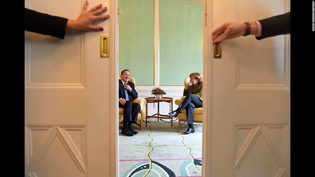 German Chancellor Angela Merkel meets with Swedish Prime Minister Stefan Löfven at the government headquarters in Stockholm on Tuesday, January 31.