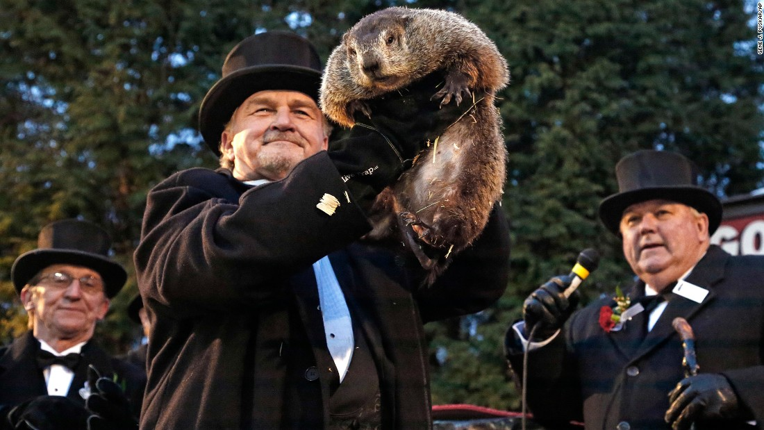 "Groundhog Club handler John Griffiths holds Punxsutawney Phil, the weather prognosticating groundhog, during the 131st celebration of Groundhog Day in Punxsutawney, Pennsylvania, on Thursday, February 2. <a href=""http://www.cnn.com/2017/02/02/us/groundhog-day-trnd/"" target=""_blank"">Punxsutawney Phil emerged and saw his shadow</a>, which, according to legend, means six more weeks of winter."