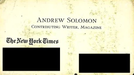 Andrew Solomon's business card, given to Hass in 2005
