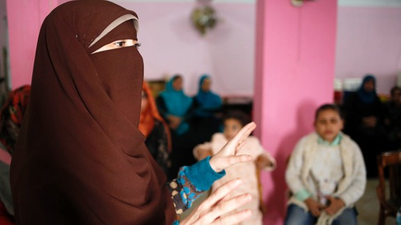 Noha is a volunteer who runs awareness sessions on FGM at her local community development center in the village of Tamouh in Giza.
