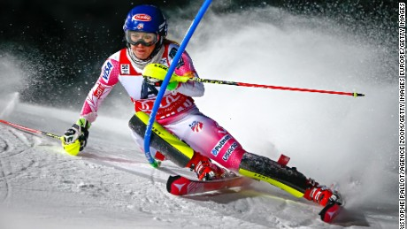 FLACHAU, AUSTRIA - JANUARY 10: Mikaela Shiffrin of USA competes during the Audi FIS Alpine Ski World Cup Women's Slalom on January 10, 2017 in Flachau, Austria (Photo by Christophe Pallot/Agence Zoom/Getty Images)