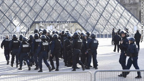 A large security operation was launched in Paris after the attack Friday morning.
