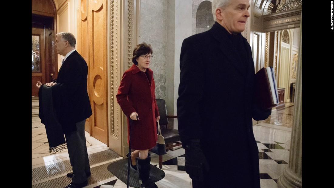 "From left, US Sens. Thom Tillis, Susan Collins and Bill Cassidy depart the Senate chamber on Friday, February 3, as lawmakers gathered for a predawn vote to advance the nomination of Betsy DeVos, who is President Trump's nominee for education secretary. DeVos <a href=""http://www.cnn.com/2017/02/03/politics/betsy-devos-clears-another-hurdle-in-early-morning-senate-vote/"" target=""_blank"">is expected to be confirmed Monday</a> with the help of Vice President Mike Pence, who will be in the chamber to break an expected 50-50 tie. Collins was one of two Republican senators who voted against DeVos."