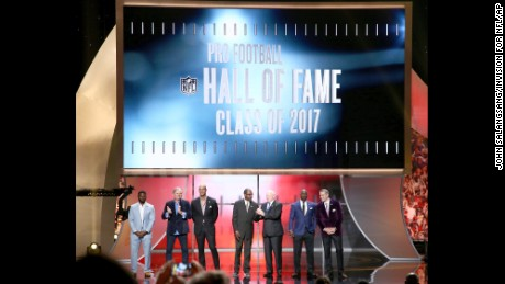 LaDainian Tomlinson, Morten Andersen, Jason Taylor, Kenny Easley, Jerry Jones, Terrell Davis and Kurt Warner are announced as inductees into the Pro Football Hall of Fame at the 6th annual NFL Honors at the Wortham Theater Center in Houston.