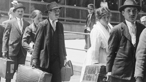 Immigrants arriving at Ellis Island, New York, on May 27, 1920.