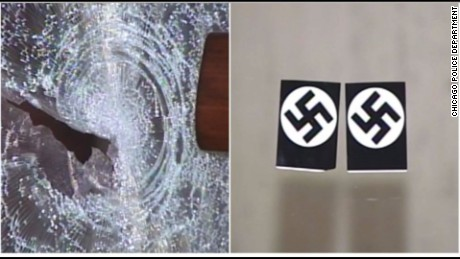 Chicago Police release pictures of smashed synagogue window and hate crime stickers