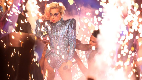 Pop star Lady Gaga performs during the Super Bowl LI halftime show on Sunday, February 5.