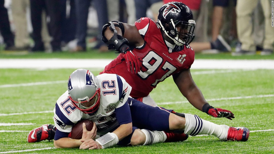 Brady is sacked by Grady Jarrett in the fourth quarter. Jarrett had three sacks in the game.