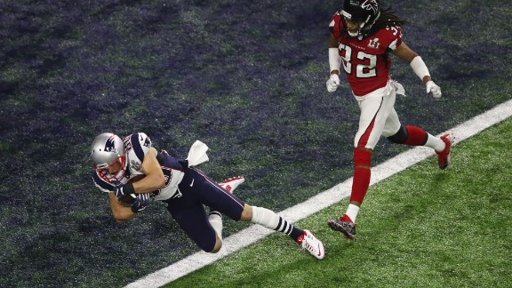 Danny Amendola catches a 6-yard touchdown pass for New England in the fourth quarter. After a two-point conversion, the Patriots cut the Falcons