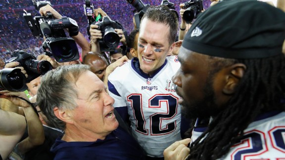 Patriots head coach Bill Belichick, left, talks to running back LeGarrette Blount as Brady looks on. Belichick has now won more Super Bowls (five) than any other head coach in NFL history. He also won two rings as an assistant coach with the New York Giants. See more Super Bowl records