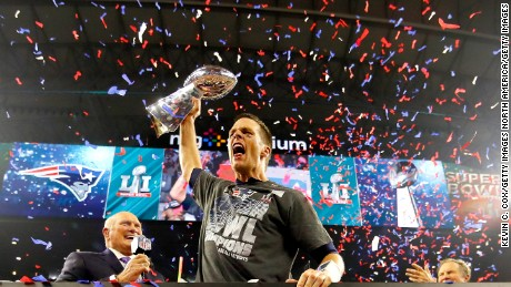 HOUSTON, TX - FEBRUARY 05:  Tom Brady #12 of the New England Patriots celebrates with the Vince Lombardi Trophy after defeating the Atlanta Falcons during Super Bowl 51 at NRG Stadium on February 5, 2017 in Houston, Texas. The Patriots defeated the Falcons 34-28.  (Photo by Kevin C. Cox/Getty Images)