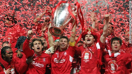 Gerrard inspired Liverpool to a memorable comeback in the Champions League final to beat AC Milan