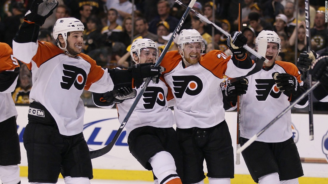 The Philadelphia Flyers celebrate a Game 7 win in the 2010 Eastern Conference semifinals. The Flyers beat the Boston Bruins in four straight games to erase a 3-0 series deficit, which had been done twice before in the NHL. But what makes this feat so interesting is that Philly also had to rally back from a 3-0 scoreline in Game 7.