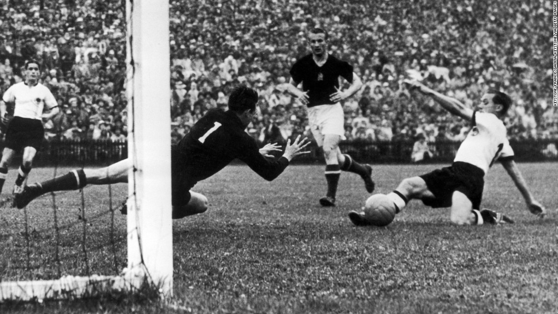 "In 1954, Hungary was known as the ""Golden Team,"" owing to their 31-game unbeaten streak. Thus, West Germany played the underdog in the 1954 World Cup final. Hungary charged to a 2-0 lead minutes after the opening whistle, but West Germany quickly equalized in the 18th minute. The score remained level until the final minutes, when Helmut Rahn fired a low shot past goalkeeper Gyula Grosics for the upset."