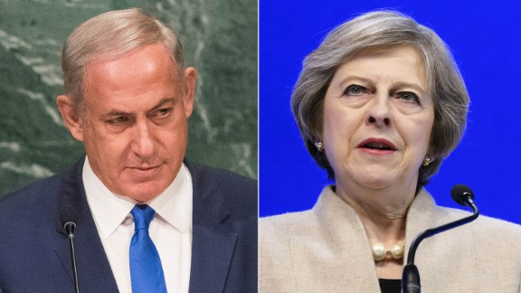 British Prime Minister Theresa May (right) is expected to tell Israel