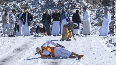 The United Arab Emirates experienced rare snowfall on February 4 at the tallest peak, Jebel Jais.