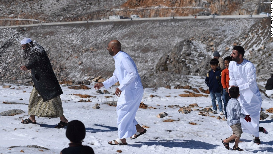 Emiratis were stunned by the snow and enjoyed the cold temperatures by building snowmen and having snowball fights.