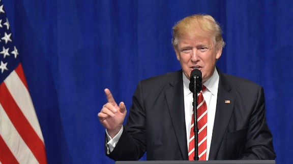 US President Donald Trump speaks following a visit to the US Central Command and Special Operations Command at MacDill Air Force Base on February 6, 2017 in Tampa, Florida.