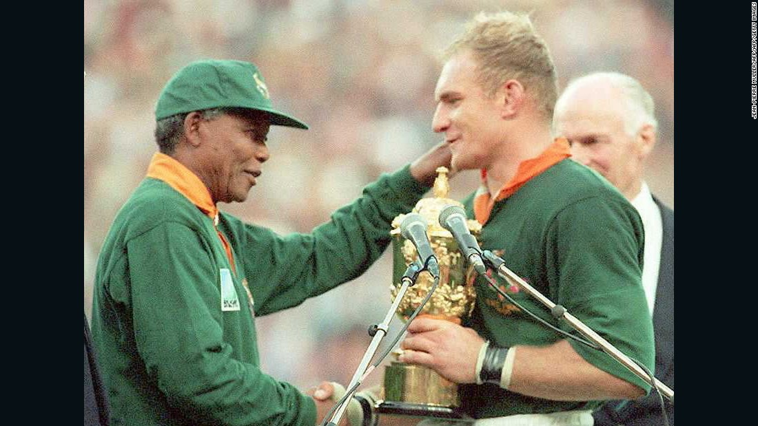 "The image of South African captain Francois Pienaar receiving the World Cup trophy from President Nelson Mandela became iconic. The tournament inspired the Hollywood film ""Invictus,"" with Matt Damon playing Pienaar."
