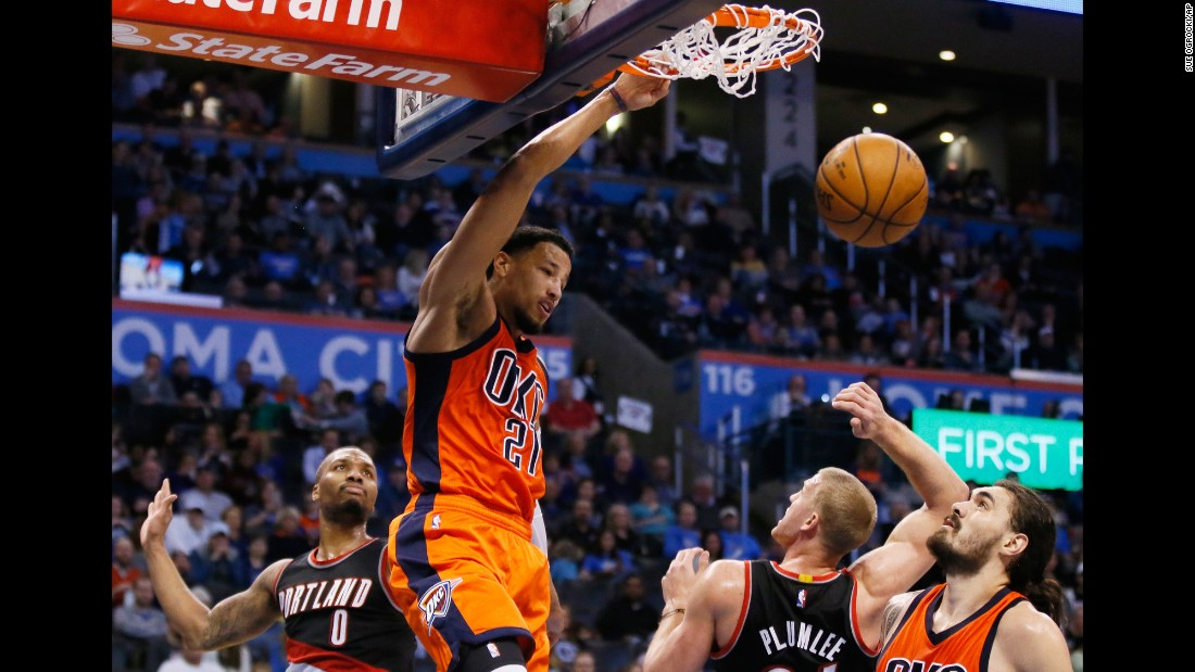 Andre Roberson dunks against Portland during an NBA basketball game in Oklahoma City on Sunday, February 5.