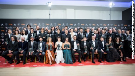MADRID, SPAIN - FEBRUARY 04:  Winners pose during the 31st edition of the Goya Cinema Awards at Madrid Marriott Auditorium on February 4, 2017 in Madrid, Spain.  (Photo by Pablo Cuadra/Getty Images)