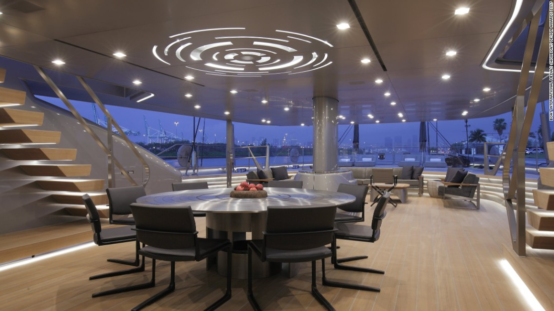 "Sybaris was also recognized for its layout and design. ""The table is a titanium modern version of a rose unfolding,"" owner Bill Duker told CNN Sport at the Monaco Yacht Show."
