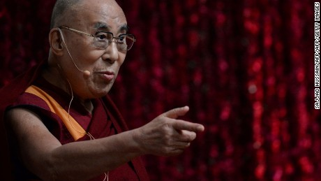 Tibetan spiritual leader, the Dalai Lama, delivers a public lecture on Reviving Indian Wisdom in Contemporary India at a function in New Delhi on February 5, 2017. / AFP / SAJJAD HUSSAIN        (Photo credit should read SAJJAD HUSSAIN/AFP/Getty Images)