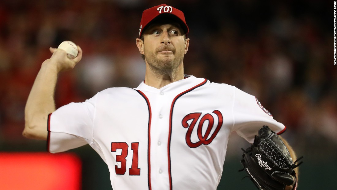 Washington Nationals pitching ace Max Scherzer is the reining National League Cy Young Award winner (his second), has pitched two no-hitters in the same season (2015), and co-holds the single game strikeout record (20). The 32-year-old has a career 125-69 record, and is in the third of a seven-year $210 million contract.
