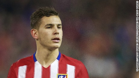 Lucas Hernandez of Club Atletico de Madrid during the UEFA Champions League Round of 16, Second leg match between Atletico madrid and PSV Eindhoven on March 15, 2016 at the Estadio Vicente Calderón in Madrid, Spain.(Photo by VI Images via Getty Images)