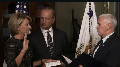 betsy devos swear in education secy