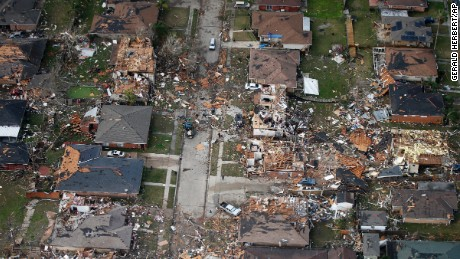 Destroyed and damaged homes are seen in this aerial photo after a tornado tore through eastern New Orleans, on Tuesday, February 7.