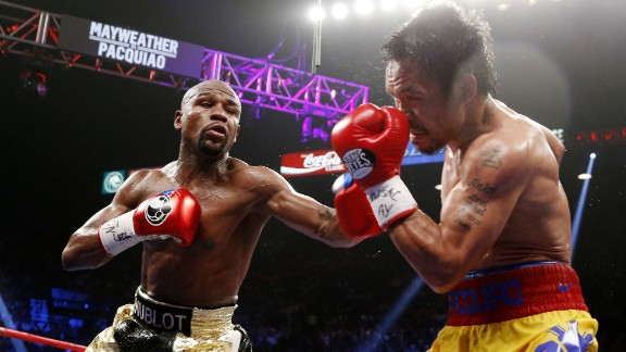 Sports commentators and fans alike suggested that the 2015 match between Floyd Mayweather, 38, left, and Manny Pacquiao, 36, was years too late due to the boxers' ages.