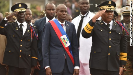 New President Jovenel Moise greets troops during his inauguration ceremony Tuesday in Port-au-Prince.