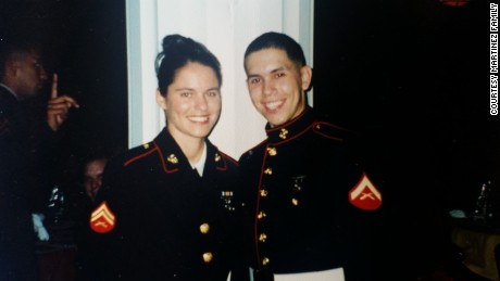 Cindy Martinez met her husband David while they were serving in the Marine Corps.