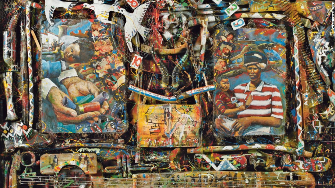 This mixed media painting by Willie Bester from 1994 is one example of the contemporary art scene in South Africa. Works such as a self-portrait from Lionel Davis' and 3D installation by Mary Sibande also feature in the exhibition.