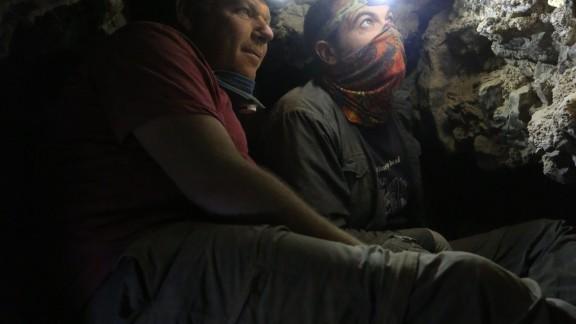 Dr. Oren Gutfeld and Ahiad Ovadia survey the cave.