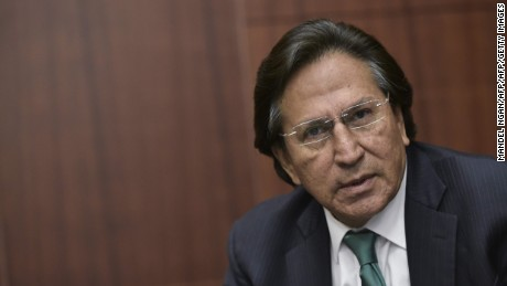 (FILES) This file photo taken on June 17, 2016 shows former Peruvian President (2001-2006) Alejandro Toledo speaking during a discussion on Venezuela and the OAS at The Center for Strategic and International Studies (CSIS) in Washington, DC. Prosecutors in Peru requested the arrest of former president Alejandro Toledo on February 7, 2017 over accusations he took a $20-million bribe from scandal-plagued Brazilian construction firm Odebrecht. / AFP PHOTO / Mandel NganMANDEL NGAN/AFP/Getty Images
