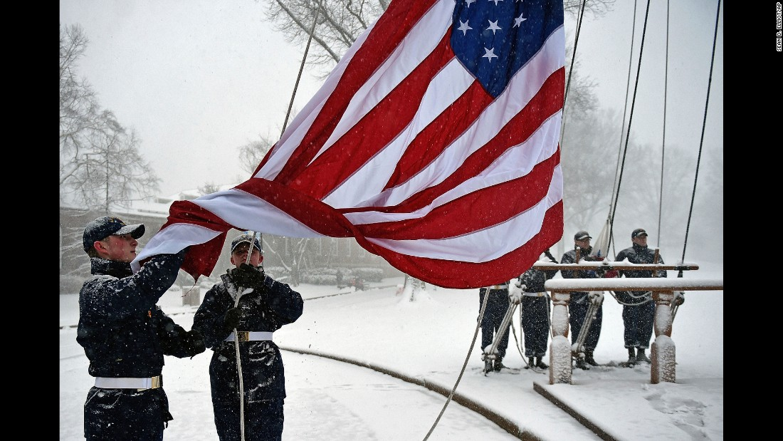 The American flag is raised at the US Coast Guard Academy in New London, Connecticut, on February 9.